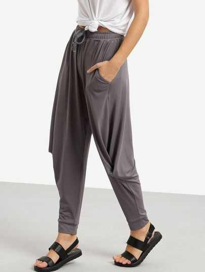 Grey Pockets Drawstring Waist Twisted Sloth Pant