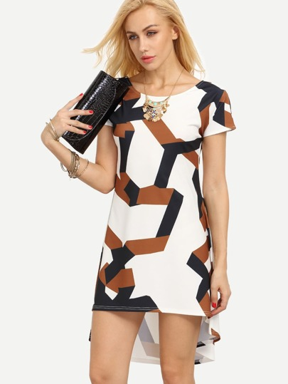 Multicolor Geometric Print Dip Hem Shift Dress