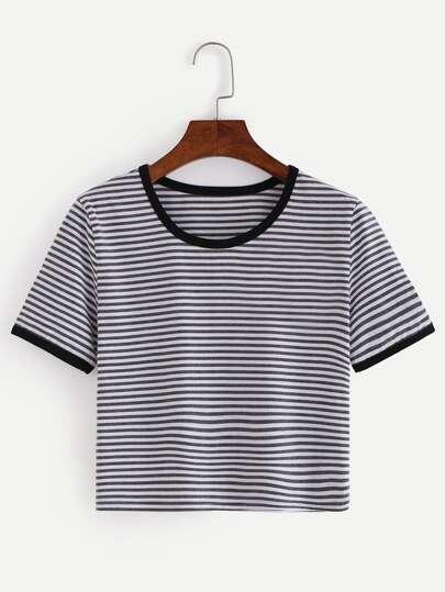 Breton Stripe Contrast Trim T-shirt