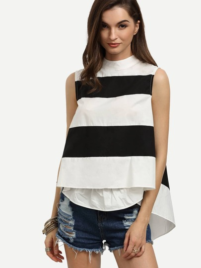 Black White Striped Mock Neck Swing Top