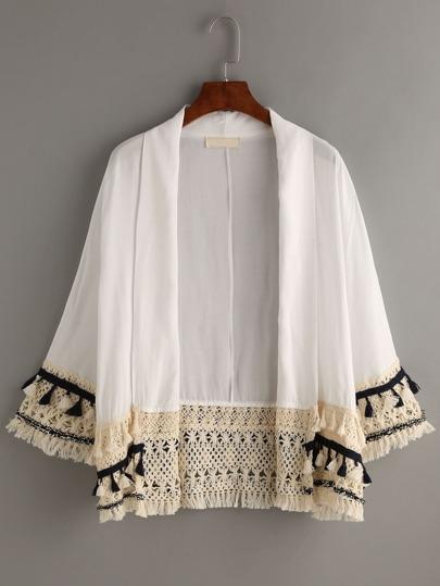 White Tassel Trimmed Kimono