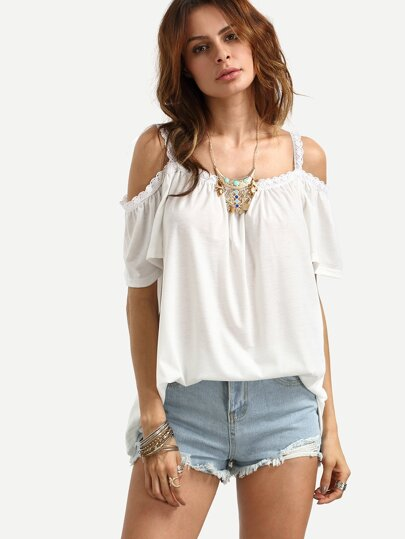 Open Shoulder Lace Trim Cami Top