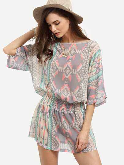 Multicolor Geometric Print Shirred Waist Chiffon Dress