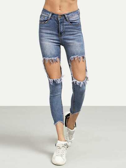Blue Distressed Raw Hem Skinny Jeans