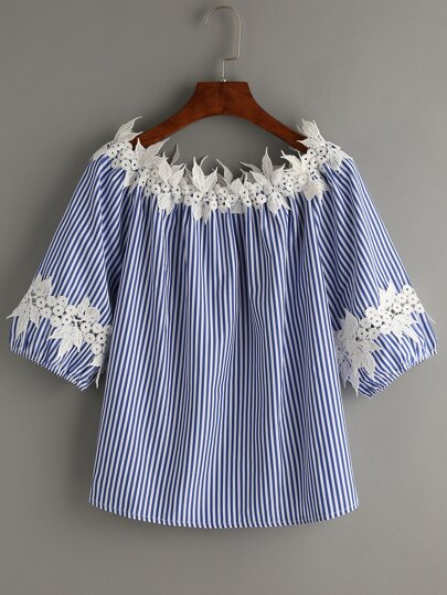 Blue Vertical Striped Boat Neck Contrast Applique Top