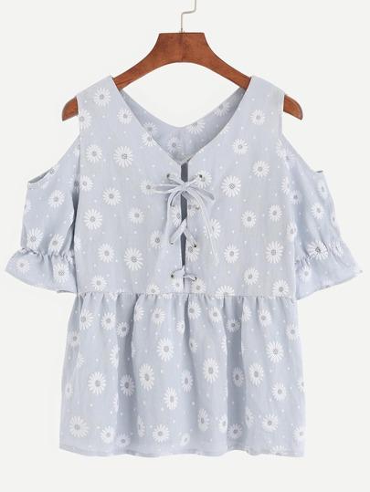 Light Blue Open Shoulder Daisy Print Lace Up Top