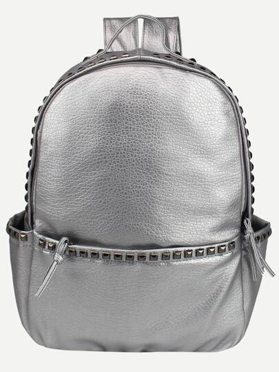 Silver Faux Leather Studded Backpack