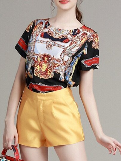 Multicolor Crew Neck Print Top With Shorts