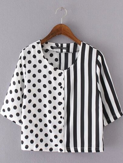 Black and White Striped Dot Patchwork Blouse