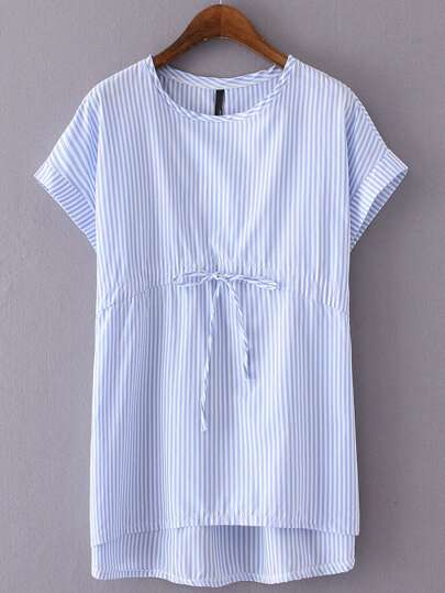 Blue Striped Tie Waist Cap Sleeve T-shirt