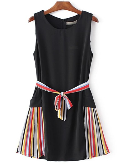 Black Striped Side Tie Waist Sleeveless Dress