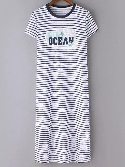 Navy Striped Letters Short Sleeve Dress