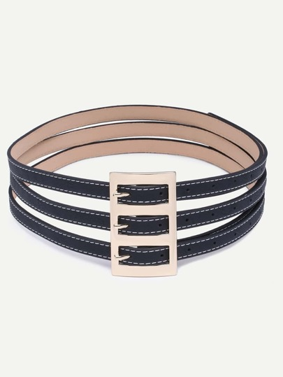 Black Three Buckle Faux Leather Belt