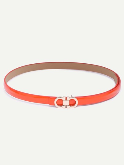 Orange Eight-shaped Buckle Faux Leather Belt