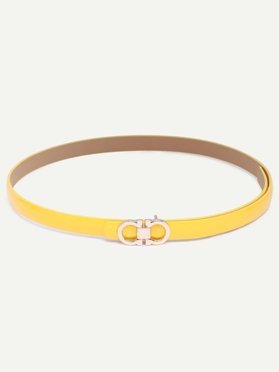 Yellow Eight-shaped Buckle Faux Leather Belt