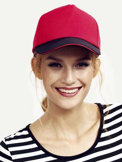 Red Casual Cotton Baseball Hat