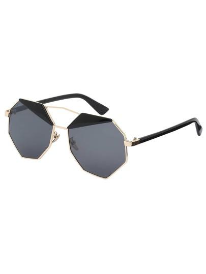 Golden Frame Grey Lenses Polygon Sunglasses