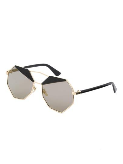 Golden Frame Polygon Lenses Sunglasses