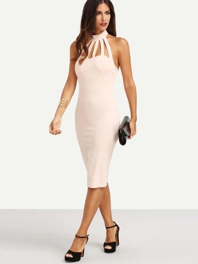 Pink Cutout Mock Neck Backless Sheath Dress