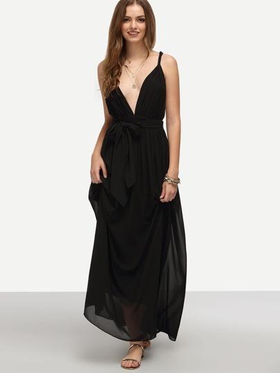 Black V Neck Tie Waist Sleeveless Maxi Dress