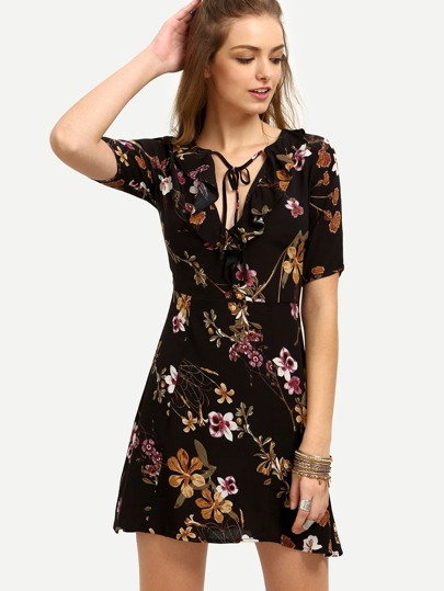 Multicolor Floral V Neck Short Sleeve Dress