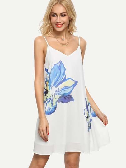 Floral Print V Back Slip Dress