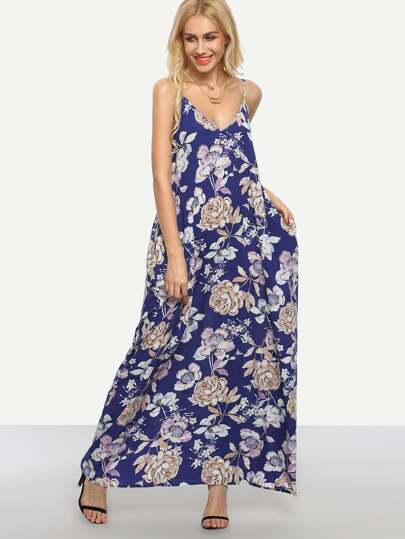 Multicolor Floral Print Slip Maxi Dress
