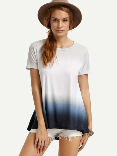 White Ombre High Low T-shirt