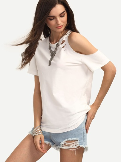 White Cut-out One Cold Shoulder T-shirt