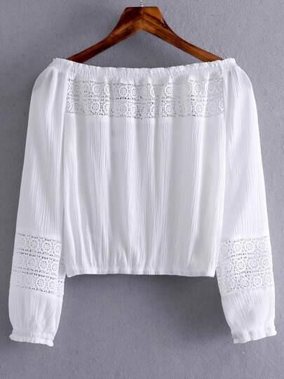White Boat Neck Elastic Cuff Crochet Blouse