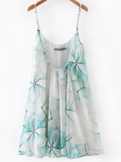 Green Printed Spaghetti Strap Pleated Dress