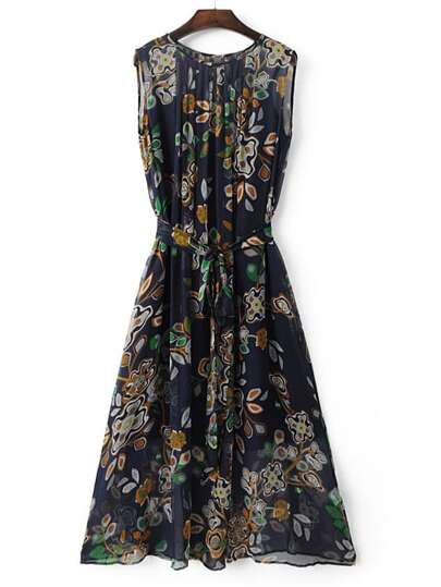Multicolor Printed Chiffon Dress With Strap