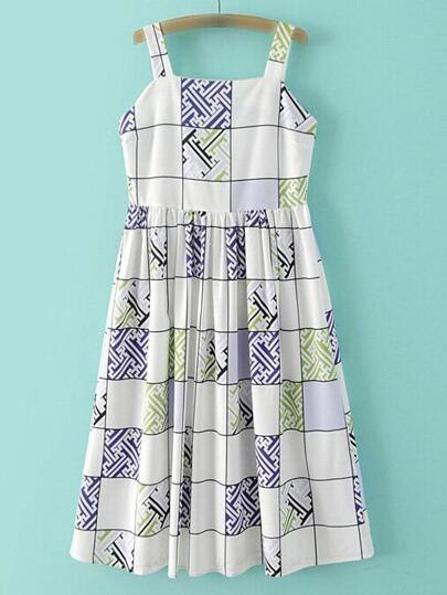 Kleid mit Karomuster und Druck - bunt