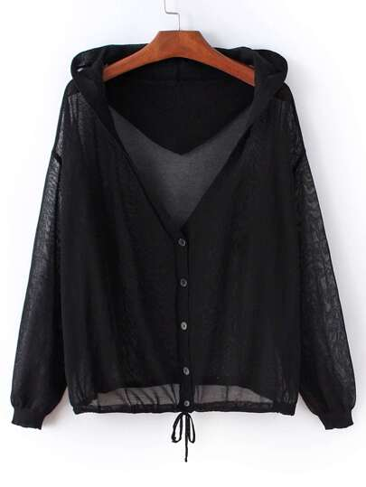 Black Tie Waist Buttons Front Hooded Coat
