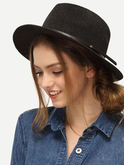Black Large Brimmed Straw Hat