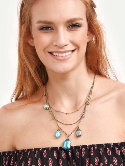 Multi-layered Rhinestone Pendant Necklace