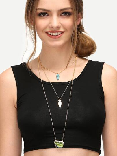 Golden Multi-layered Pendant Necklace