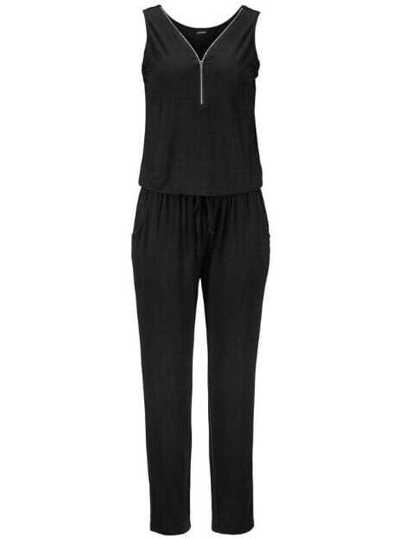 Black V Neck Zipper Jumpsuit With Drawstring