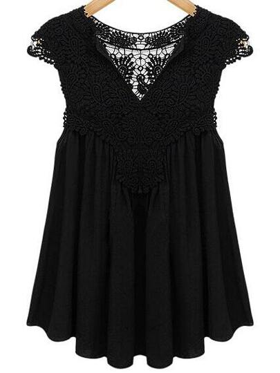 Lace Insert Cap Sleeve Swing Chiffon Top - Black
