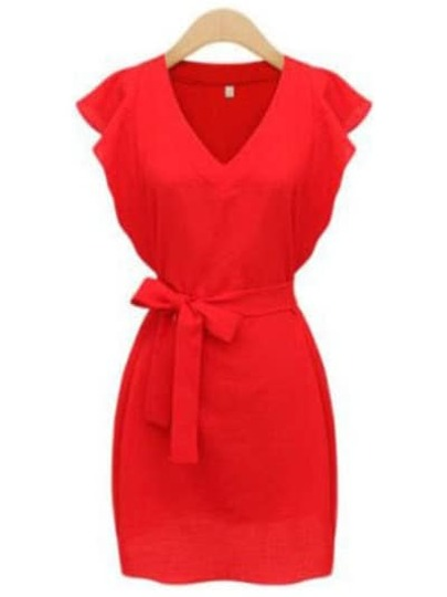 Red V Neck Ruffle Sleeve Self-Tie Dress