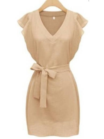 Apricot V Neck Ruffle Sleeve Self-Tie Dress