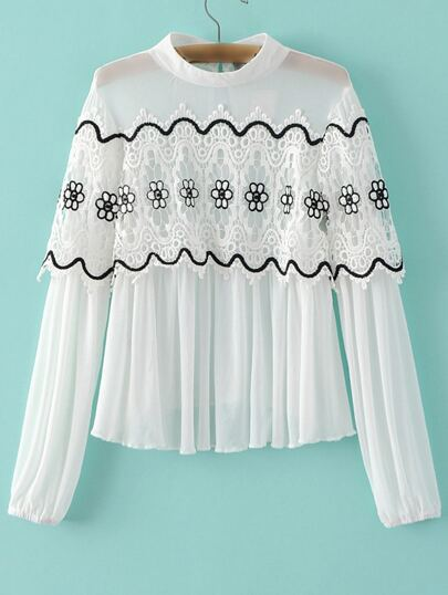 White Band Collar Crochet Pleated Blouse