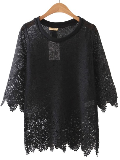 Black Sheer Crochet Lace Blouse