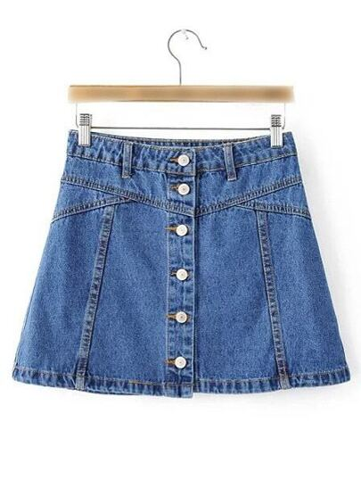 Blue Single Breasted Casual Denim Skirt