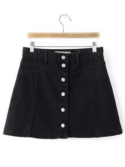 Black Single Breasted Casual Skirt