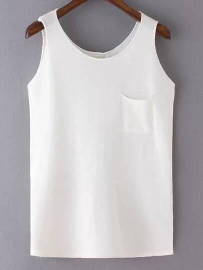 White Pocket Slim Tank Top