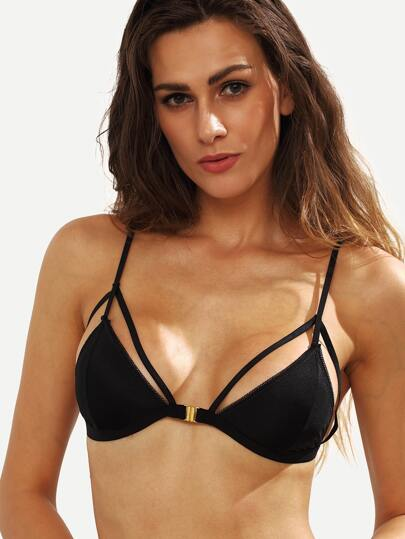Black Cutout Front Closure Bikini Top