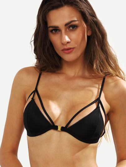 Cutout Front Closure Bikini Top