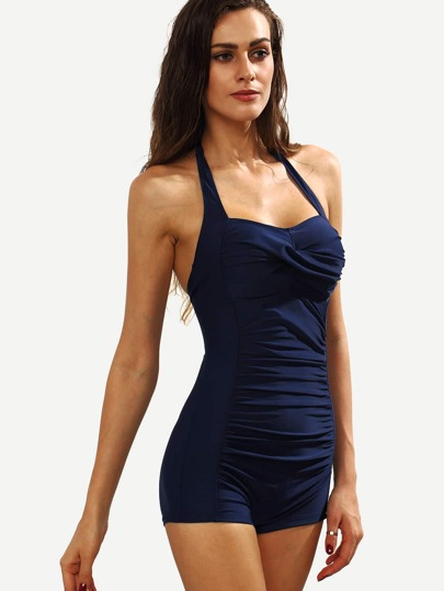 Self Tie Neck Ruched One-Piece Swimsuit