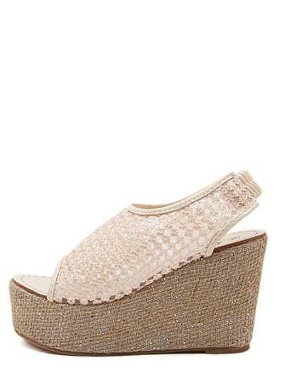 Sandales à semelle compensée bout ouvert - rose